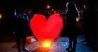 Небесный шар-фонарик в форме сердца